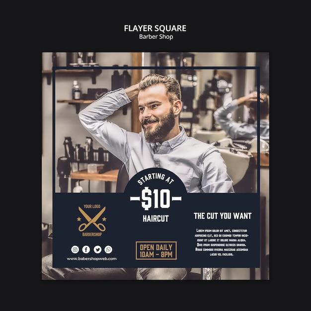Modello di volantino quadrato del negozio di barbiere Psd Gratuite