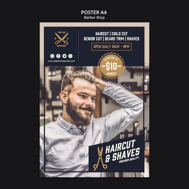 Парикмахерская шаблон плаката Premium Psd