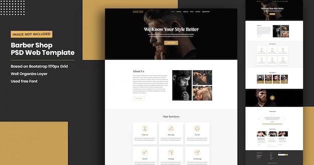Barber shop website landing page template Premium Psd