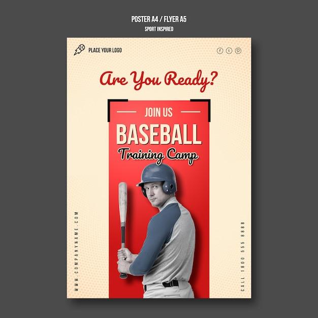 Baseball training camp flyer template Free Psd