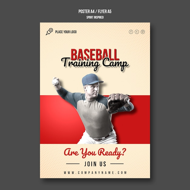 Baseball training camp flyer Free Psd