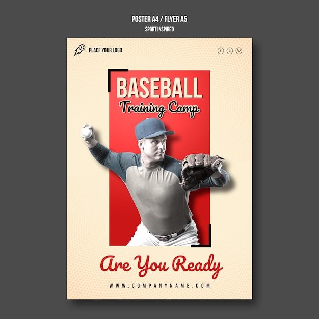 Baseball training camp poster template Free Psd