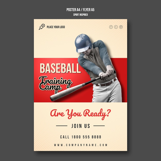 Baseball training camp poster Free Psd