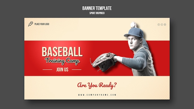 Baseball training horizontal banner template Free Psd