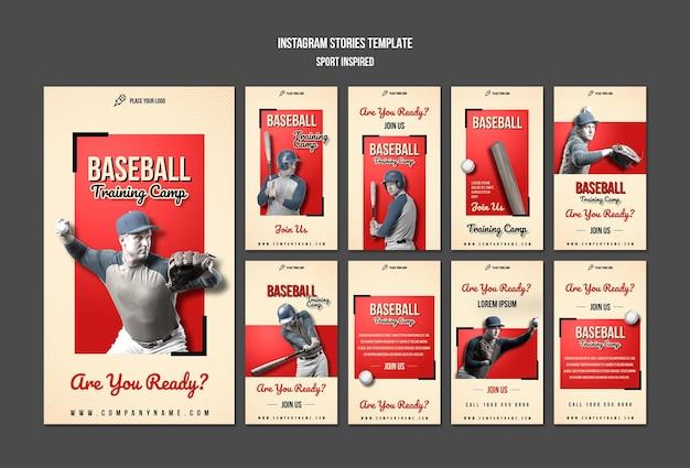 Baseball training instagram stories template Premium Psd