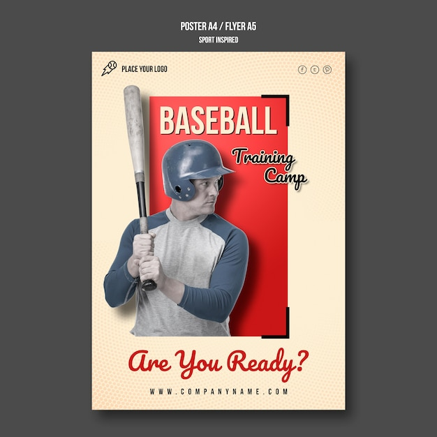 Baseball training poster template Free Psd