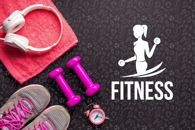 Basic fitness equipment and tools Free Psd
