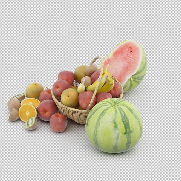 Basket with fruits Premium Psd