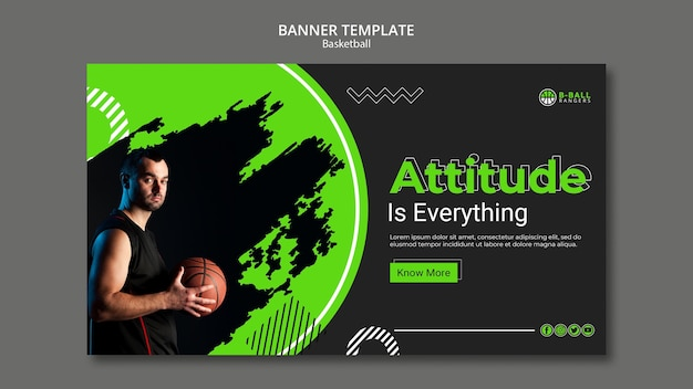 Basketball banner template style Free Psd