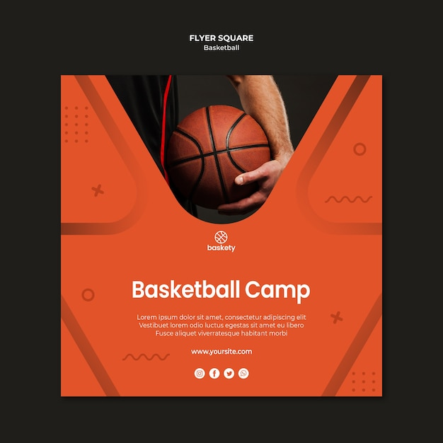 Basketball camp flyer square Free Psd