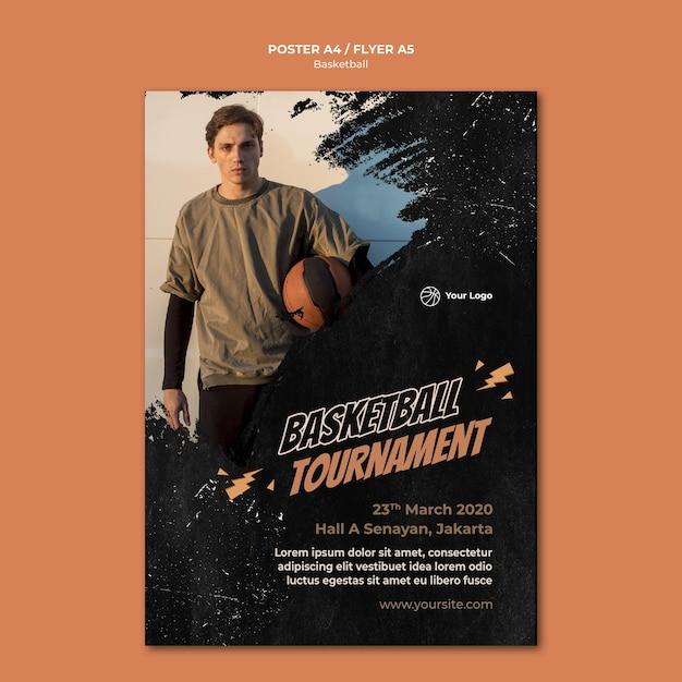 Шаблон флаера для баскетбола с фото Бесплатные Psd