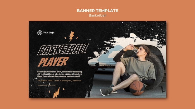 Basketball horizontal banner template with photo Free Psd
