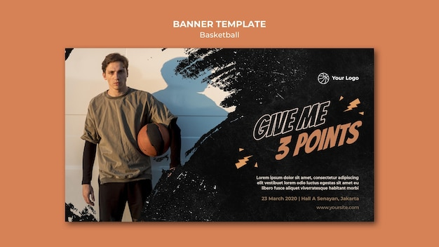 Basketball horizontal banner with photo Free Psd