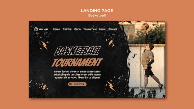 Basketball landing page template with photo Free Psd