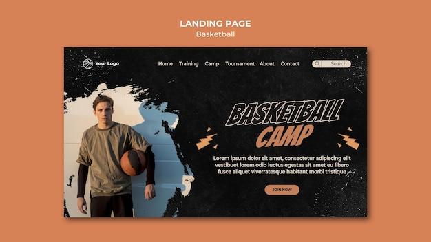 농구 방문 페이지 템플릿 프리미엄 PSD 파일