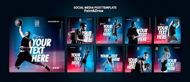 농구 선수 instagram 게시물 템플릿 무료 PSD 파일