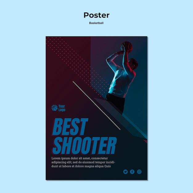 Concetto di modello di poster di basket Psd Gratuite