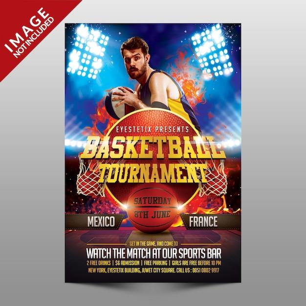 Basketball tournament flyer Premium Psd