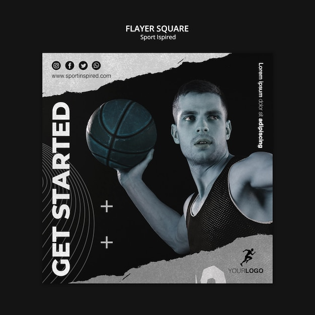Basketball training ad template square flyer Free Psd