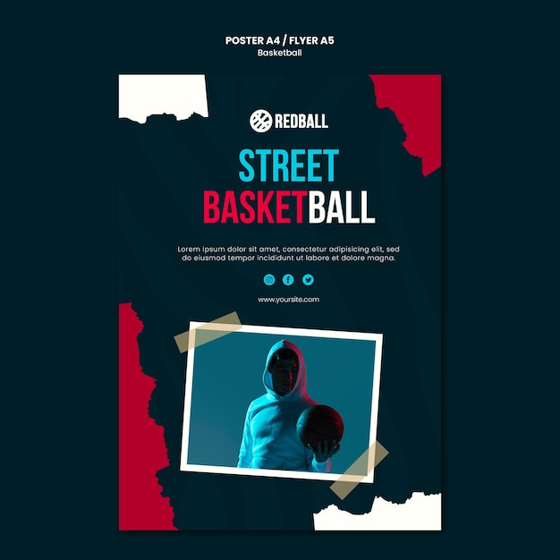 Basketball training flyer template Free Psd
