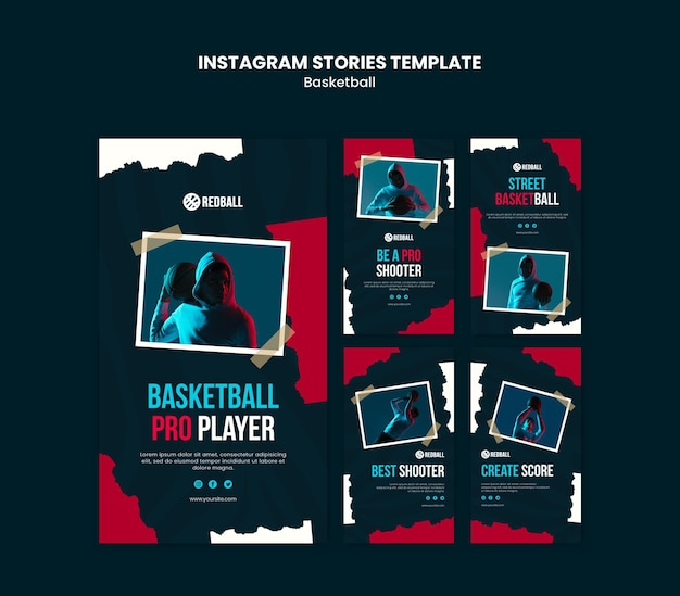 Basketball training instagram stories template Premium Psd