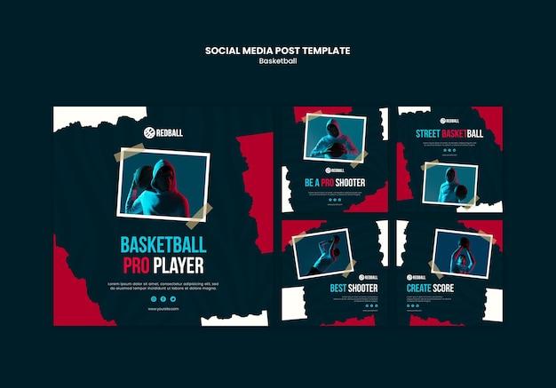 농구 훈련 소셜 미디어 게시물 템플릿 프리미엄 PSD 파일