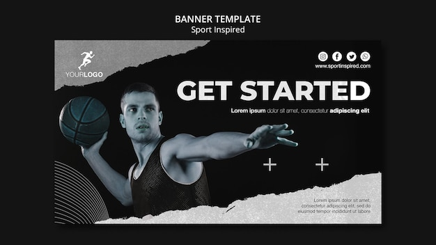 Basketball training template banner Free Psd