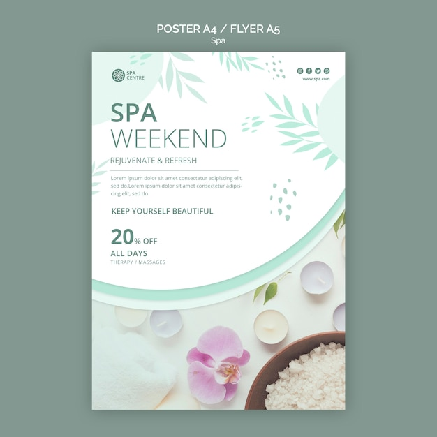 Bath salt spa weekend poster Free Psd