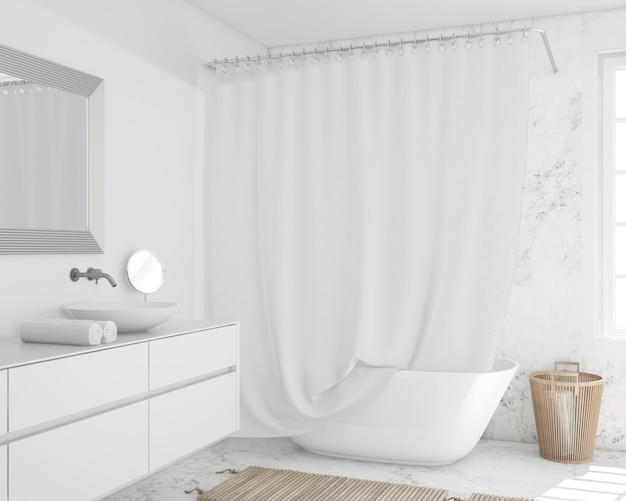 Ванна с занавеской и шкафом Бесплатные Psd