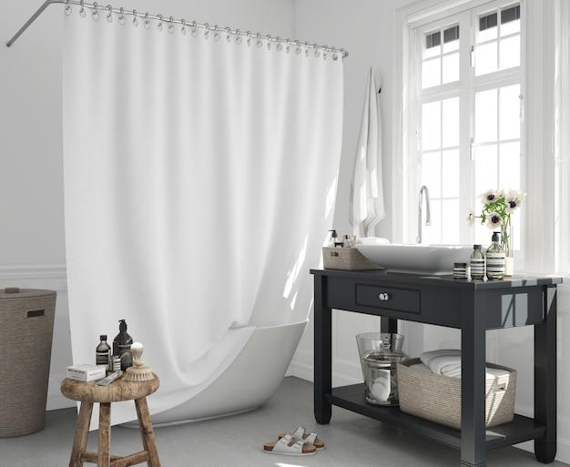 Ванна с занавеской и раковиной на шкафу Бесплатные Psd