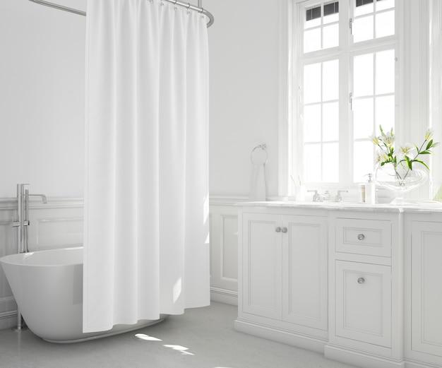 Ванна с занавеской, шкафом и окном Бесплатные Psd