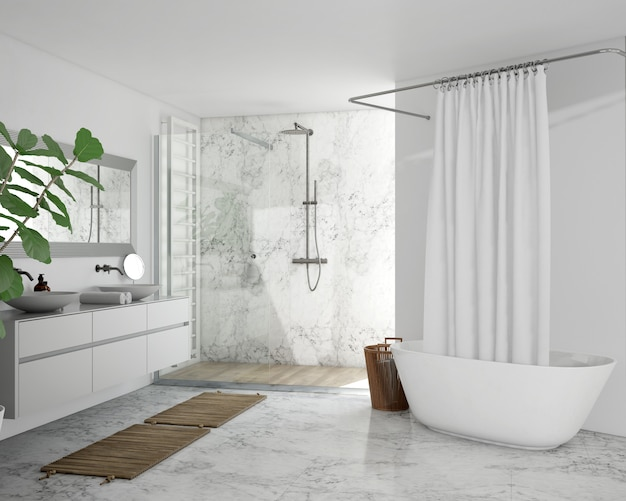 Bathtub with curtain, cupboard and shower Free Psd