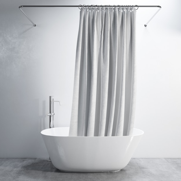 Bathtub with curtain Free Psd