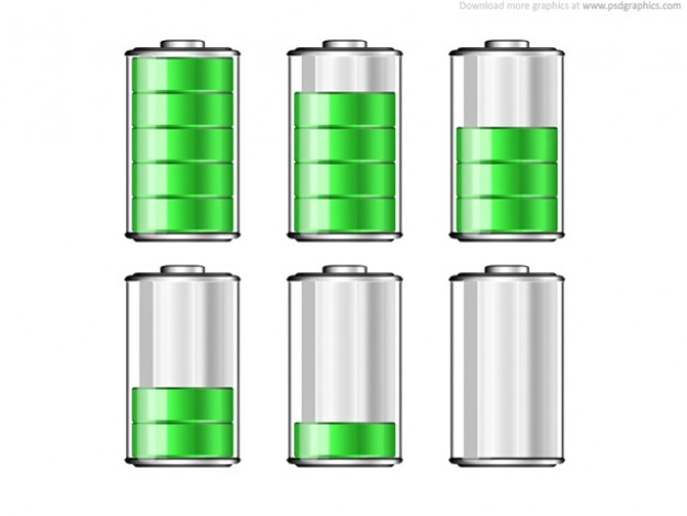 Battery levels icons Free Psd