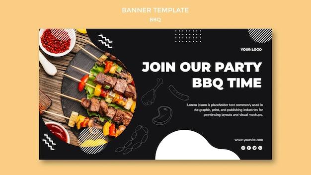 Bbq banner template design Free Psd