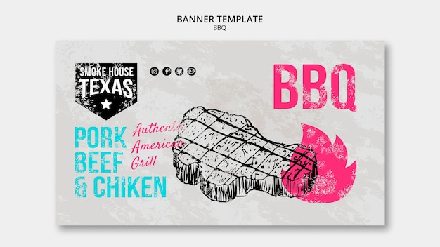 Bbq banner template with steak Free Psd