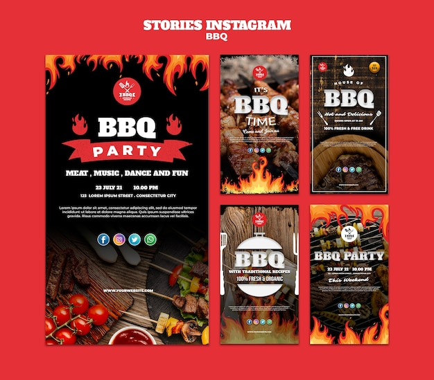 Bbq concept instagram stories template Free Psd