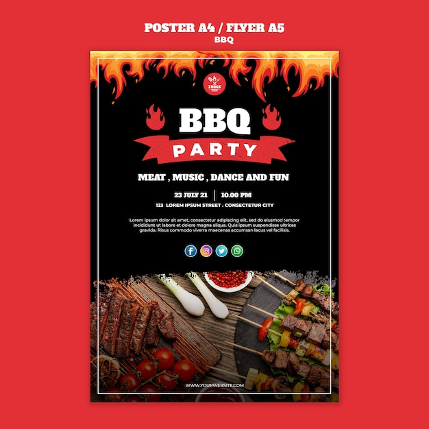 Bbq concept poster flyer template Free Psd