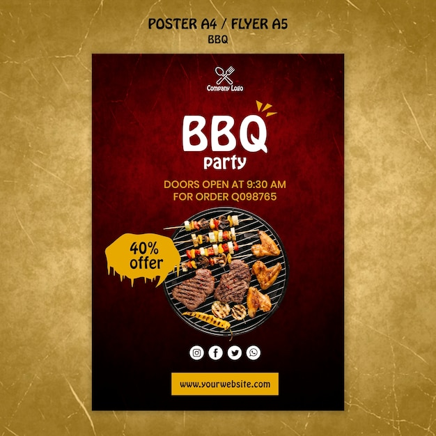 Bbq concept poster template Free Psd