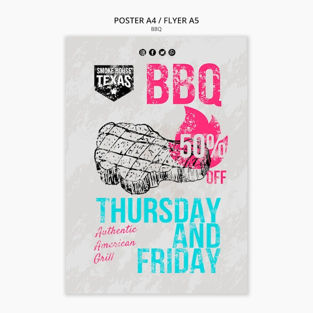 Bbq flyer with discount Free Psd