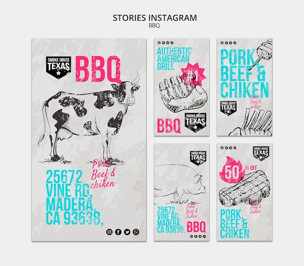 Bbq instagram stories collection Free Psd