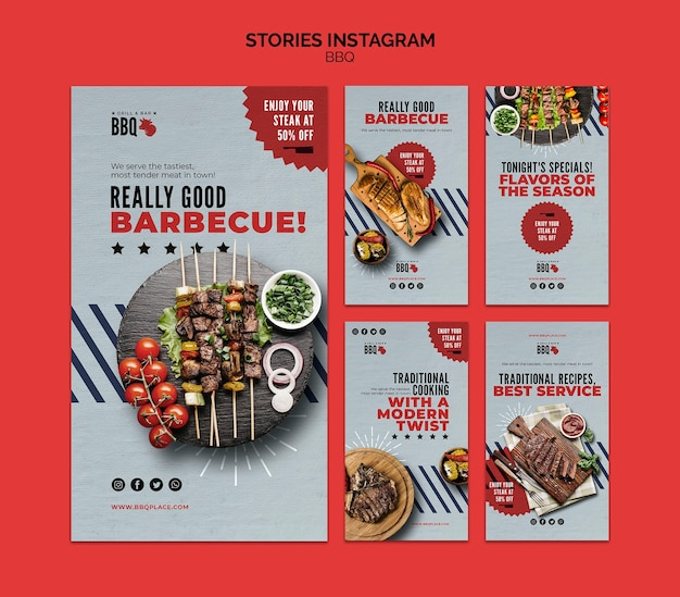 Bbq instagram stories template Free Psd