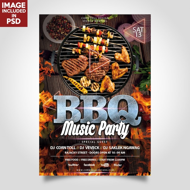 Bbq music party flyer шаблон Premium Psd