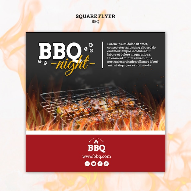 Bbq night and grill square flyer template Free Psd