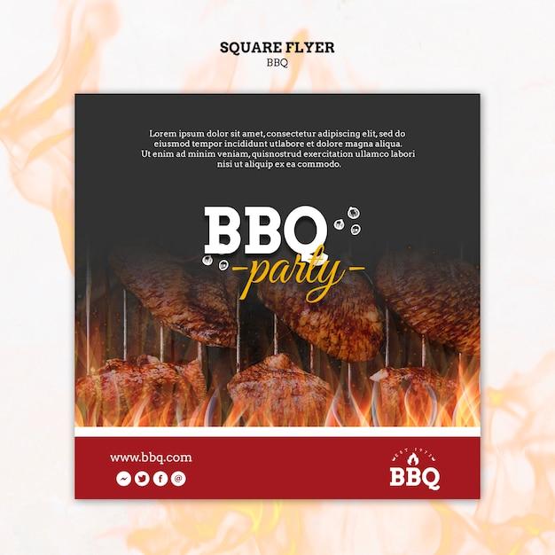 Шаблон вечеринки с барбекю и квадратный флаер Бесплатные Psd