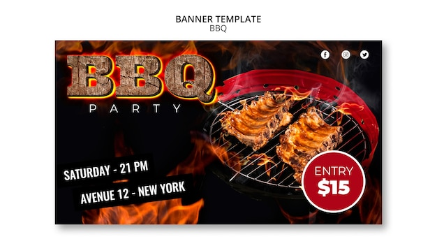Bbq party banner template Free Psd