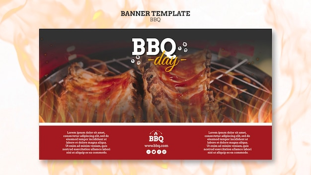 Bbq party and grill banner template Free Psd
