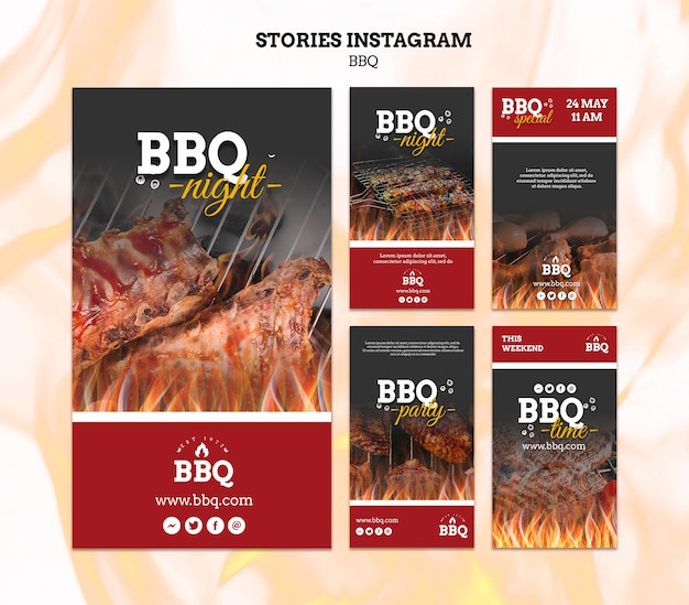 Bbq party instagram stories template Free Psd