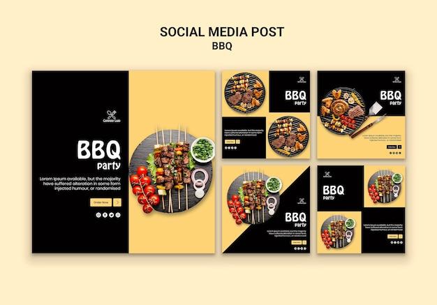 Пост в социальных сетях для барбекю Бесплатные Psd