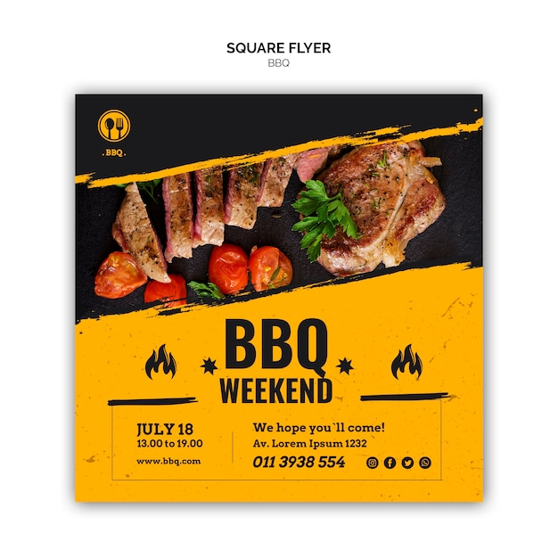 Bbq party square flyer template Free Psd